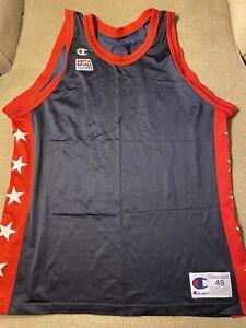 Mens Champion Blank USA Basketball Dream Team VTG Jersey 48 Olympics Rare