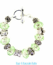 Bracelet - Light Green Faceted Glass & Rhinestone Toggle FINAL markdowns