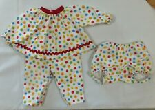 3 Piece Colorful Spriral Print Pajama Set to fit Deluxe Reading Baby Boo Doll