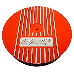 """Big Block Chevy 454 (Silver Logo) - 13"""" Round Air Cleaner Kit Orange - Ansen USA"""
