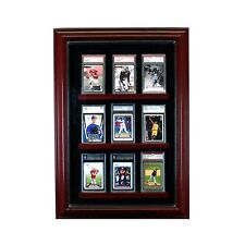9 Graded Baseball Card Cabinet Style Display Case Glass Cherry w/ Black Suede