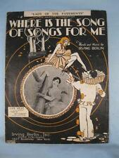 Where Is The Song Of Songs For Me Sheet Music Vintage 1928 By Irving Berlin (O)
