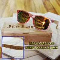 Personalized Engraving Bamboo Wood Mirrored Sunglasses Bridesmaid Birthday Gift