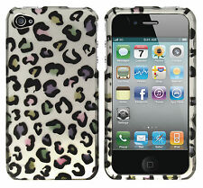For Apple iPhone 4 4S HARD Protector Case Snap On Phone Cover 2D Rainbow Leopard