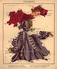 Deutschland Fun Atlas Germany Vintage Antique Old Colour Color Repro Map Plan