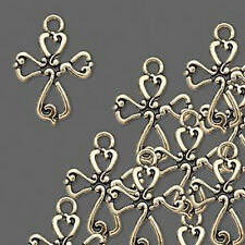 Cross Charms Antiqued Gold Jesus Christian Jewelry Lot of 4