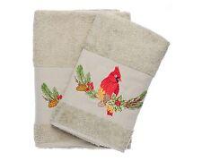 Ebru Bath & Hand Towel Set Turkish Best Quality %100 Cotton Cardinal Embroidered