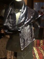 Vintage Navy Blue Scarf Silk Beaded Velvet
