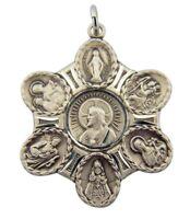 """Sterling Silver 7 Seven Way Medal 1 1/4"""" Pendant w Jesus Christ Scapular Center"""