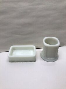 Antique Iridescent White Soap Dish Holder &  Matching Tooth Brush Cup Holder