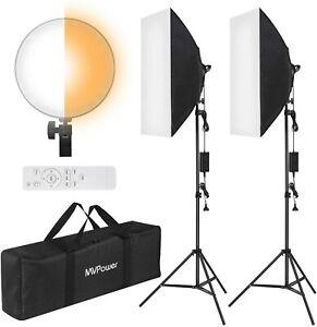 2x LED-Softbox Beleuchtung Set 50x70cm Foto Zweifarbige Dimmbare & Fernbedienung