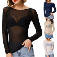 Womens Sheer Mesh Top Ladies Long Sleeve See through Sexy T Shirt Tops