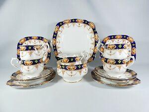 Antique Art Deco 15pc Royal Albert Crown China Tea Set Trio Imari 6355 Plate Lot