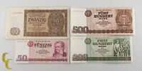 1948-1985 East Germany 4 Pc Note Lot 20, 50, 200, 500 Marks (VF-AU) Condition