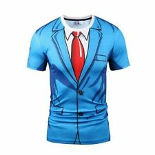 Summer Print Casual Short Suit Tuxedo Tee Fake T-Shirts 3D Graphic Sleeve Mens