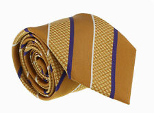 Canali Gold/Blue Pure Silk Traditional Stripe Tie- Blade Width:3in
