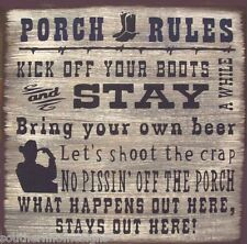 Western Porch Rules Rustic Primitive Country Wood Sign Home Decor