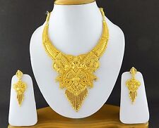 Indian Bollywood Fashion Jewelry Gold Plated Wedding Necklace Earrings Set