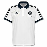 Chelsea FC Adidas white short sleeve mens polyester football polo shirt 2012-13