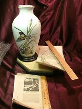"L/E 1980 Franklin Porcelain Meadowland Bird Vase by Basil Ede-11 1/2""-free ship"