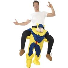 Men's 1980's Cartoon Bananaman Piggy Back Fancy Dress Costume Stag Night Ride On