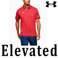 MEN UNDER ARMOUR UA ELEVATED POLO SHIRT RED HEATHER SHORT SLEEVE 1305791-602 4XL