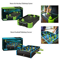 """Funtime Neon 20"""" Table Football Or Table Air Hockey Indoor Wood Finish Game"""