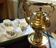 VICTORIAN STYLE ANTIQUE BRASS FANCY TIPPING TEA POT / KETTLE ON FOOTED STAND