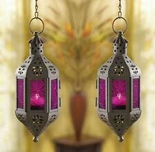 2 Purple Glass Hanging Candle Holder Lanterns Set Wedding Party Centerpieces New