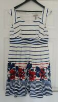 Pepperberry Really Curvy Floral Stripe Summer Dress UK Size 16 Any Occasion