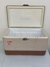 Vintage Coleman Metal Cooler - Tan & Brown w/ Bottle Opener & Plug 22x13x13