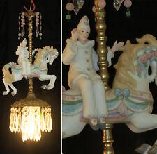 Porcelain Clown Horse Carousel Lamp brass Chandelier Vintage Rose Children Room