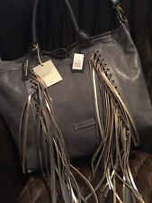 NEW Cavalcanti Made In Italy Gray Leather Fringe Shopper Shoulder Bag Boho Chic