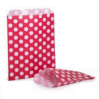 "REVERSE RED SPOTTY POLKA DOT CANDY PAPER SWEET BUFFET FAVOUR BAGS - 7""x9"""