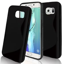 Samsung Galaxy S7 Plus Black S Line Soft TPU Silicone Gel [Wave Design] Case