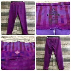 Prana Leggings Crop Women's M (Inseam 22) Pink Purple (A6) Stretch EUC!