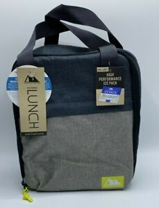 Arctic Zone Insulated Lunch Bag With High Performance Ice Pack Blue/Gray New