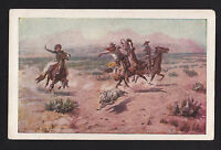 1905-07 artist signed Charles Russell Roping a Wolf Cowboy western postcard