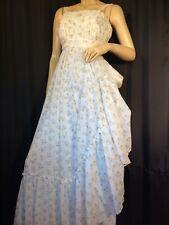 New listing vintage Prairie white Maxi dress Xs Boho floral 70s Sleeveless empire Hippie