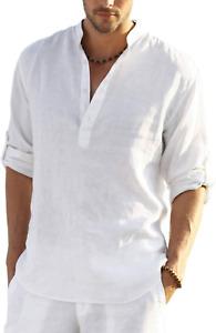 COOFANDY Men's Cotton Linen Henley Shirt Long Sleeve Hippie Casual Beach T