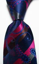 New Classic Striped Paisley Blue Rose Gray JACQUARD WOVEN Silk Men's Tie Necktie