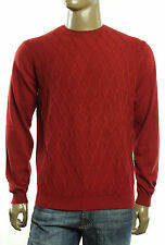 $85 New Argyle Culture Crew Neck Modified Cable Red Cotton Pullover Sweater M