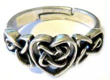 Anello regolabile con un nodo celtico e cuore gothic wicca heart celtic ring