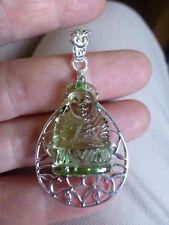Joli pendentif bouddha en quartz vert et en ARGENT 925  poinçon