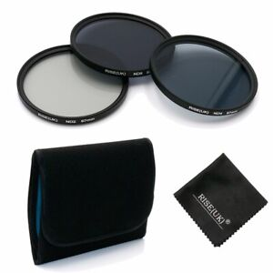 Rise(UK) ND2 ND4 ND8 Filter Set Kit + Microfiber Cloth for Canon Nikon Sony