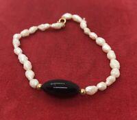 """14k Gold Estate Vintage Bracelet 7"""" Onyx Rice Pearls Estate 4 Grams"""