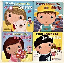 NEW Lot 4 Toddler PRESCHOOL Life Skills Board Bks Manners Help Share Polite Kind