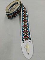"""D'ANDREA ACE REISSUE ACE3 STAINED GLASS JACQUARD WEAVE 2 """" WIDE GUITAR STRAP"""