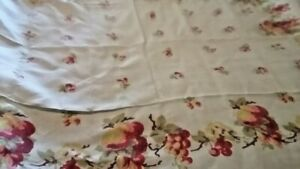 Vintage Hand Print Tablecloth 55 x 70 Inches Red Yellow Flowers White Background