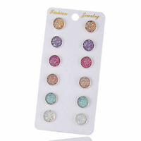 Colorful Glitter Stud Earrings 6 Pair Resin Round Jewelry Women Christmas Gift
